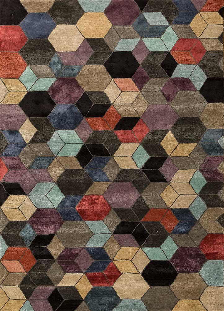 Hand Tufted Wool Viscose Ebony Black Olive 150x240 Cm Modern Geometric Area Rug Ebay